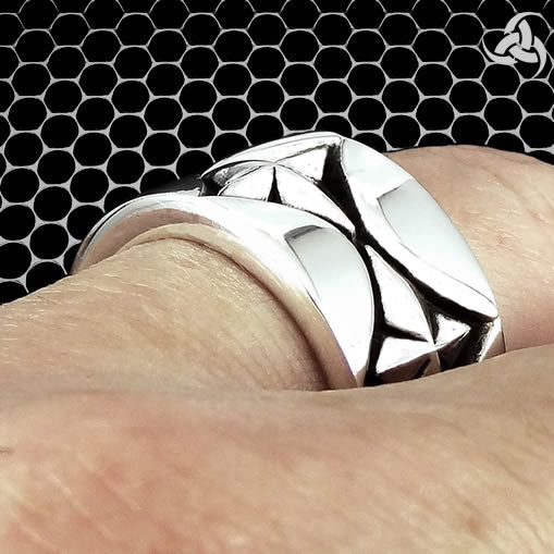 Mens Biker Ring Aztec Mayan Star Sterling Silver Size 9 to 11