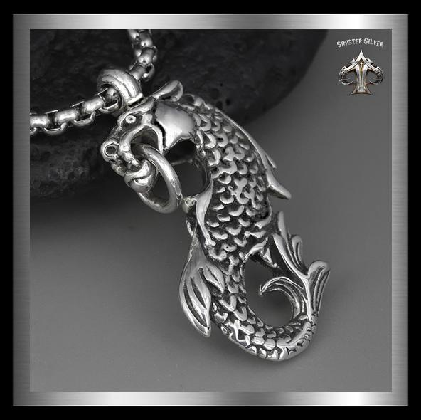 Heavy Midgard Serpent Pendant Sterling Silver 3D Norse Jewelry - Sinister Silver Co.