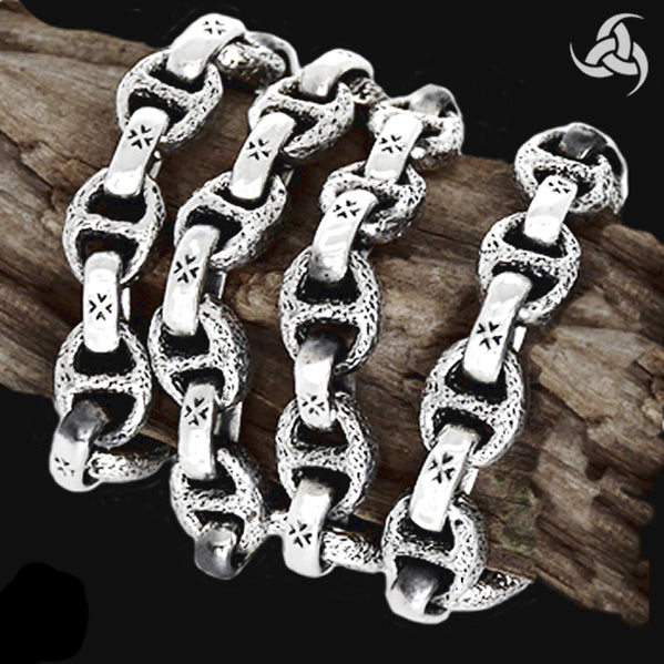 Sterling Silver Biker Necklace Anchor Chain Iron Cross - Sinister Silver Co.