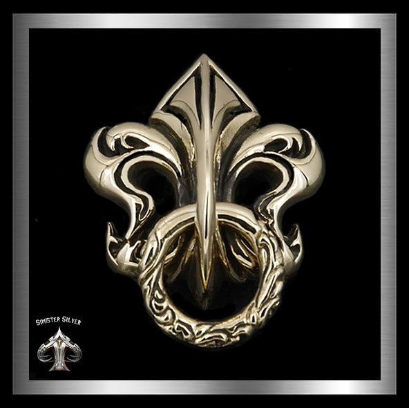 Medieval Fleur De Lis Wallet Chain Connector Concho Gold Brass 2 - Sinister Silver Co.