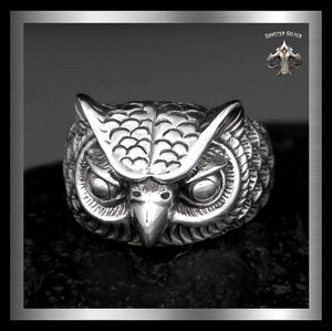Medieval Wise Owl Greek Ring Sterling Silver Sizes 9, 10, 11 - Sinister Silver Co.