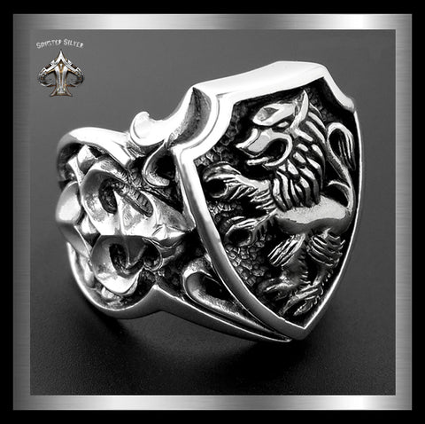 Mens Biker Ring Rampant Lion Sterling Silver Lion Of Judah - Sinister Silver Co.
