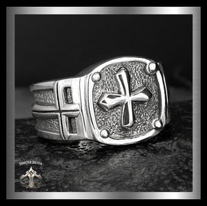 Mens Biker Ring Sterling Silver Medieval Knights Templar Cross 1 - Sinister Silver Co.