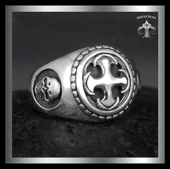 Mens Biker Skull Ring Masonic Knights Templar Cross Sterling Silver - Sinister Silver Co.