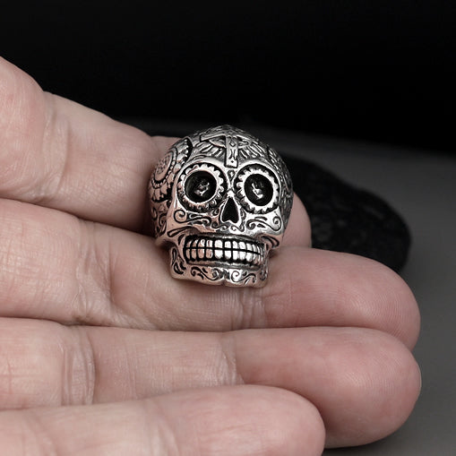 925 Sterling Silver Sugar Skull Day Of The Dead Biker Concho - Sinister Silver Co.