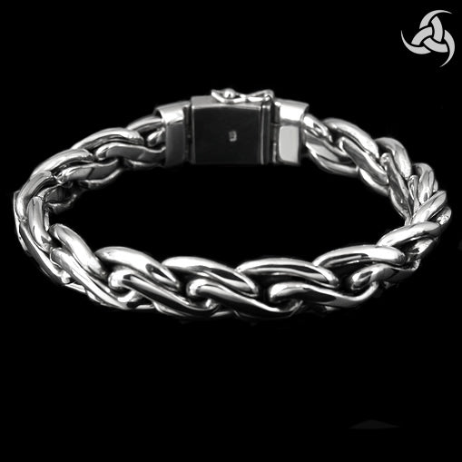Sterling Silver Biker Bracelet Mens Viking Chain - Sinister Silver Co.