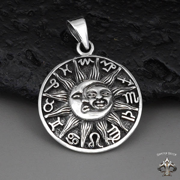 Sterling Silver Biker Pendant Zodiac Moon And Sun - Sinister Silver Co.
