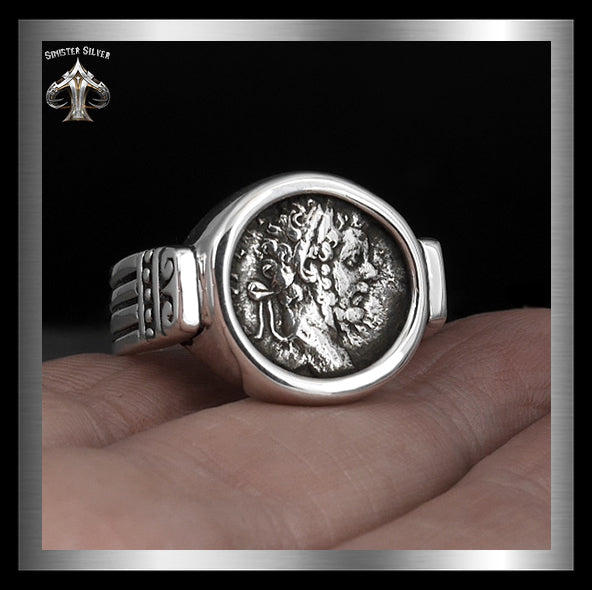 Septimius Severus Ancient Roman Coin Replica Ring In Sterling Silver 2 Sinister Silver Co.