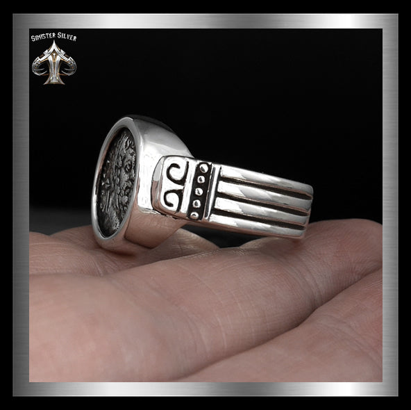 Septimius Severus Ancient Roman Coin Replica Ring In Sterling Silver 3 Sinister Silver Co.
