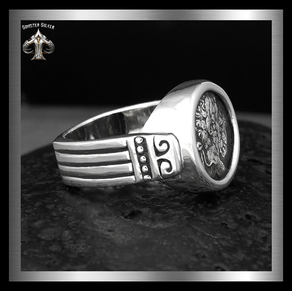 Septimius Severus Ancient Roman Coin Replica Ring In Sterling Silver 4 Sinister Silver Co.