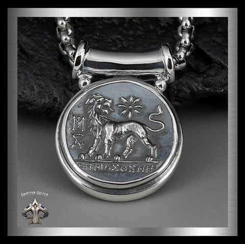 Sterling Silver Ancient Greek Lion Coin Replica Pendant - Sinister Silver Co.