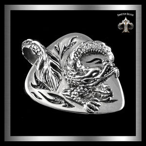 Sterling Silver Biker Viking Dragon Shield Pendant 1 Sinister Silver Co.