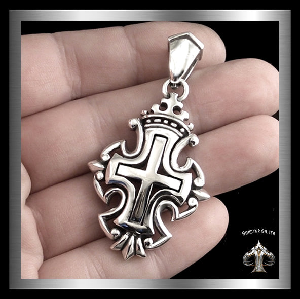 Sterling Silver Crowned Royalty Cross Pendant Biker Amulet Medallion 2 Sinister Silver Co.