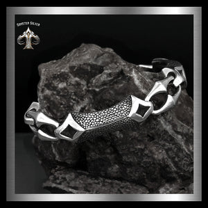 Sterling Silver Dragon Hyde Anchor Link Biker Bracelet - Sinister Silver Co.