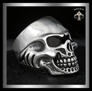 Sterling Silver Heavy Tough Biker Skull Ring
