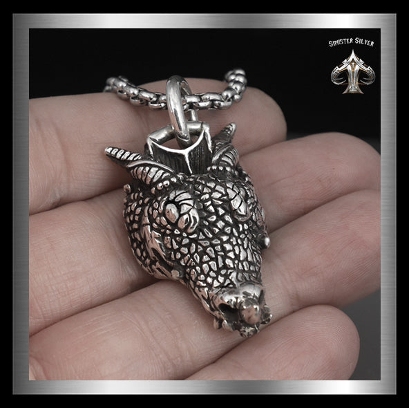 Sterling Silver Huge Medieval Viking Horned Dragon Pendant 3 - Sinister Silver Co.
