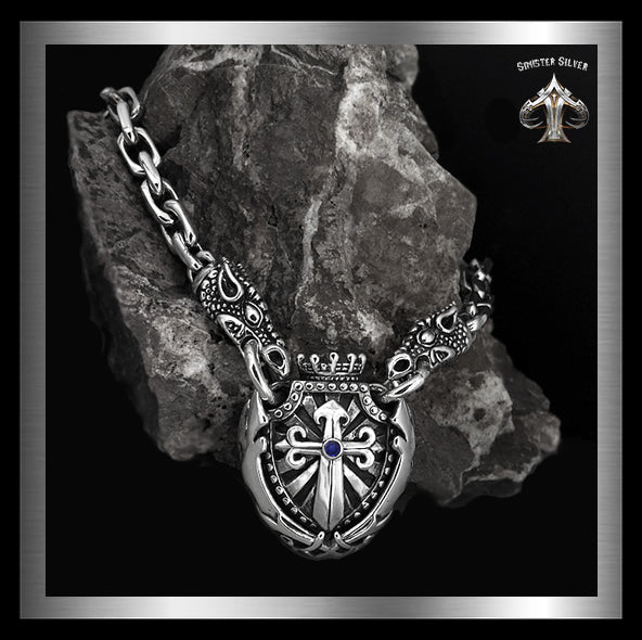 Sterling Silver Majestic Royalty Knights Crest Dragon Head Biker Necklace 1 Sinister Silver Co.