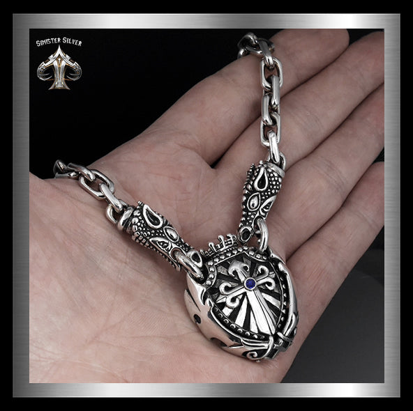 Sterling Silver Majestic Royalty Knights Crest Dragon Head Biker Necklace 2 Sinister Silver Co.