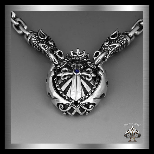 Sterling Silver Majestic Royalty Knights Crest Dragon Head Biker Necklace 3 Sinister Silver Co.