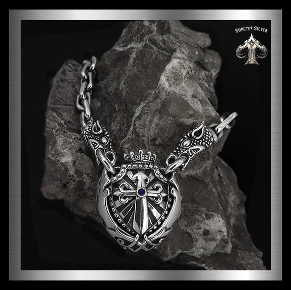 Sterling Silver Majestic Royalty Knights Crest Dragon Head Biker Necklace 4 Sinister Silver Co.