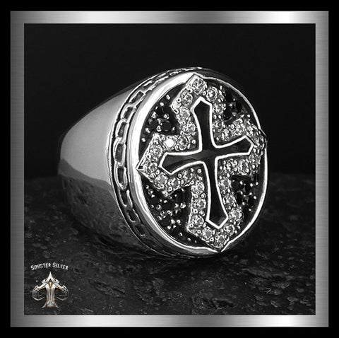 Sterling Silver 35 Gram Medieval Biker Knights Cross Ring 1 - Sinister Silver Co.