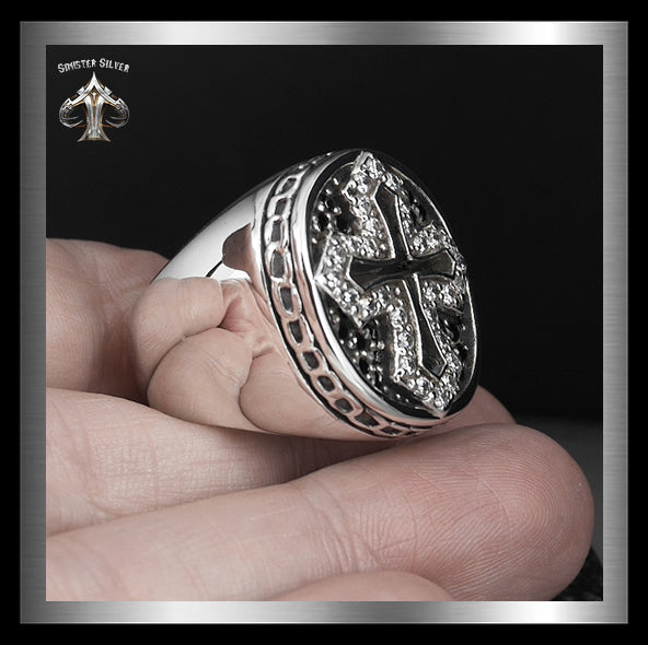 Sterling Silver 35 Gram Medieval Biker Knights Cross Ring 2 - Sinister Silver Co.