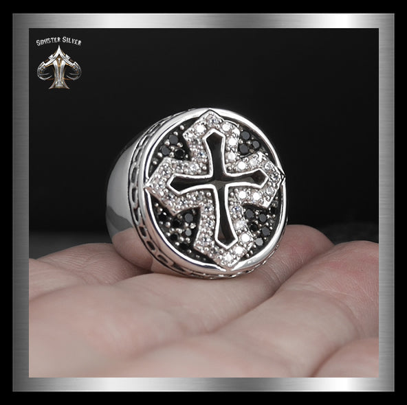 Sterling Silver 35 Gram Medieval Biker Knights Cross Ring 3 - Sinister Silver Co.