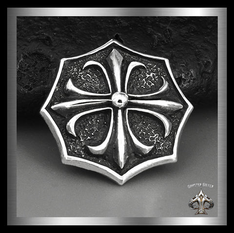 Sterling Silver Medieval Iron Surfer Cross Concho 1 - Sinister Silver Co.