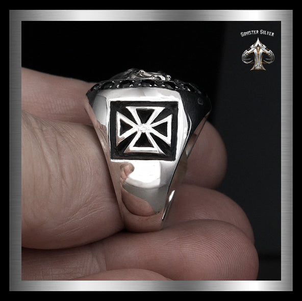 Mens Masonic Biker Skull Ring Sterling Silver Cross Sides - Sinister Silver Co.