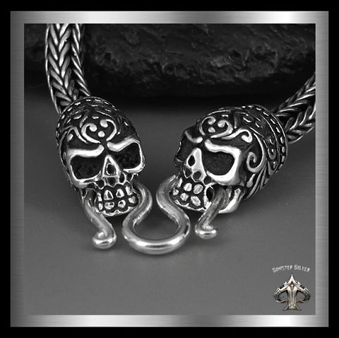 Sterling Silver Sugar Skull Biker Calaveras Skull Necklace - Sinister Silver Co.