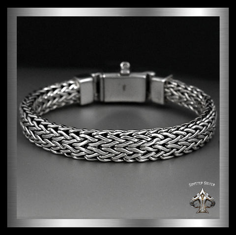 Sterling Silver Biker Bracelet Viking Dragon Weave SOLD - Sinister Silver Co.