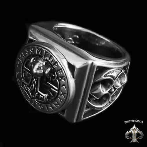 Sterling Silver Heavy Viking Rune Circle Thors Hammer Axe Ring - Sinister Silver Co.