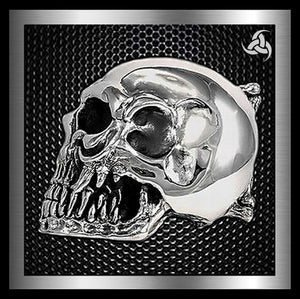 Sterling Silver Ultimate Skull Biker Belt Buckle 1 - Sinister Silver Co.