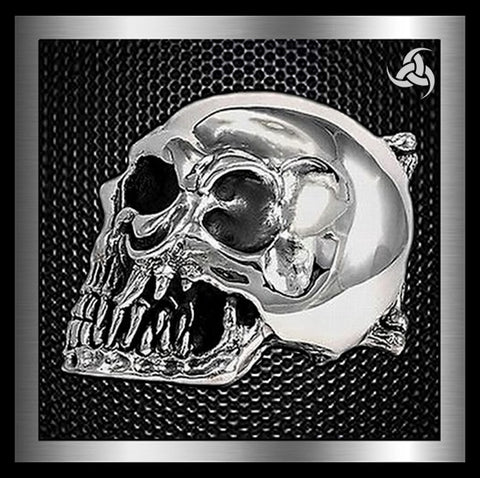 Sterling Silver Ultimate Skull Biker Belt Buckle - Sinister Silver Co.
