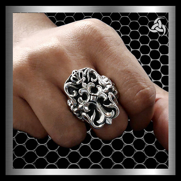 Sterling Silver Mens Royalty Cross Biker Ring - Sinister Silver Co.