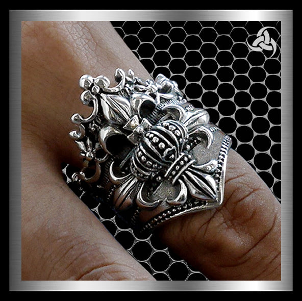 Sterling Silver Mens Royalty Crown Biker Ring - Sinister Silver Co.