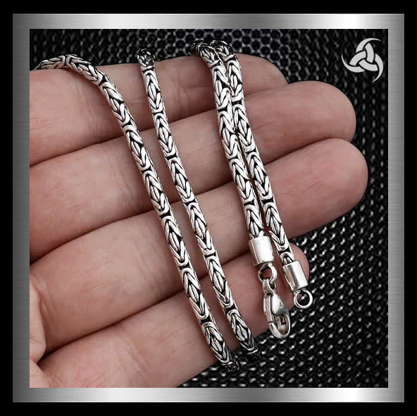 "Bali Byzantine Chain Solid Sterling Silver 22.5"" Sinister Silver Company"