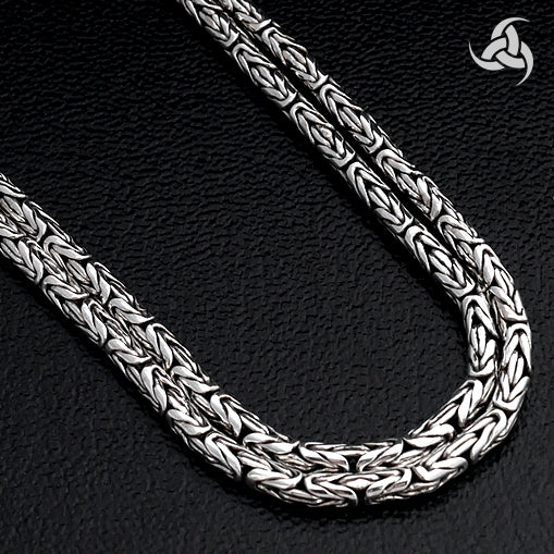 Byzantine Bali Chain Sterling Silver 22.5 Inch Necklace With Lobster Clasp