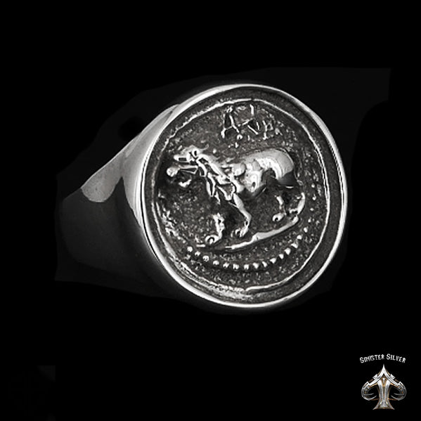 Mens Biker Ring Ancient Greek Lion Coin Sterling Silver - Sinister Silver Co.
