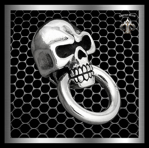 Biker Classic Skull Concho Sterling Silver Wallet Chain Connector By Sinister Silver Co.