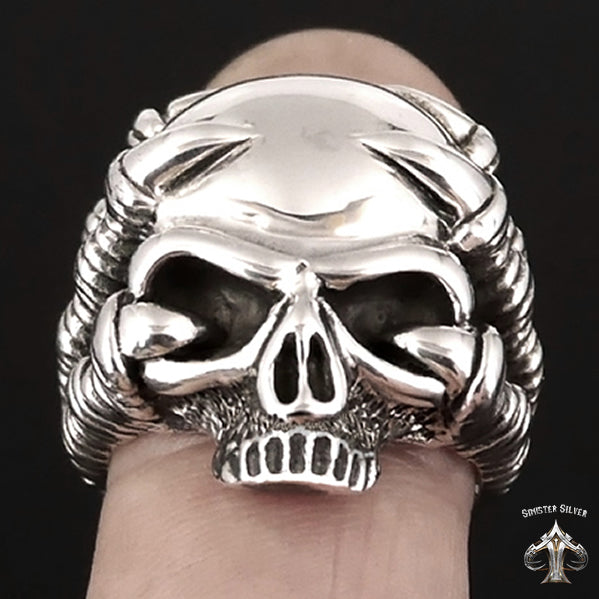 Biker Ring Eagle Claw Half Skull Sterling Silver Sizes 8 to 13 - Sinister Silver Co.