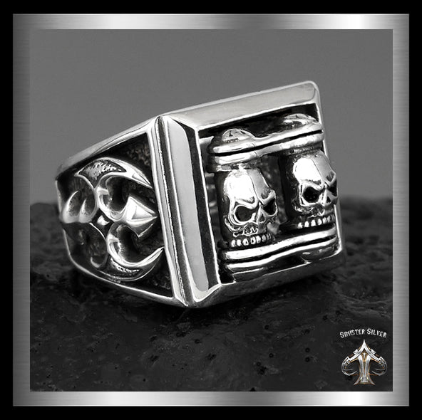 Sterling Silver Biker Motorcycle Chain Skull Ring - Sinister Silver Co.
