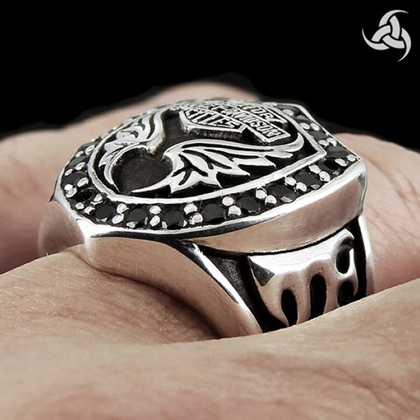 Sterling Silver Onyx Biker Motorcycle Crest Ring - Sinister Silver Co.