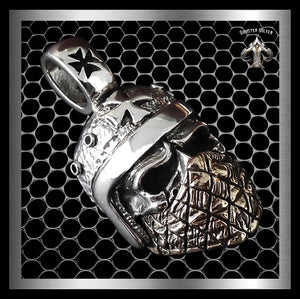 Mens Biker Skull Pendant Mad Max Iron Cross Helmet Sterling Silver - Sinister Silver Co.