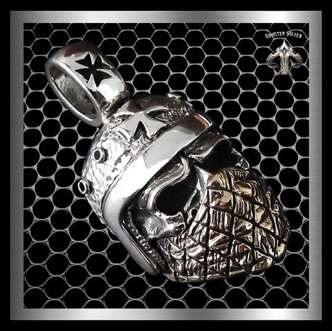 Mens Biker Skull Pendant Mad Max Iron Cross Helmet Sterling Silver By Sinister Silver Co.