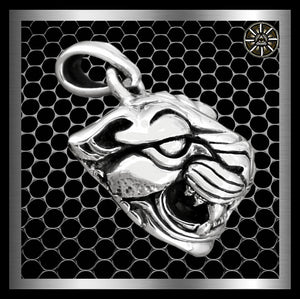 Biker Tiger Totem Pendant Medallion Sterling Silver Jewelry - Sinister Silver Co.