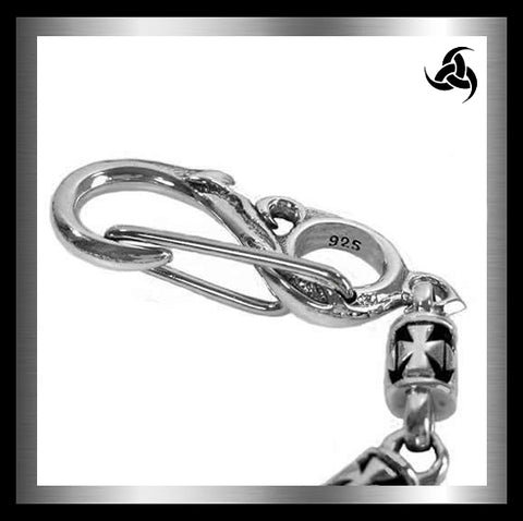 Sterling Silver Biker Wallet Chain Knights Templar Link - Sinister Silver Co.