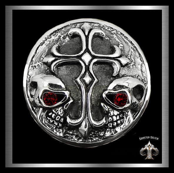 Sterling Silver Biker Twins Skull Cross Concho Snap Cover - Sinister Silver Co.