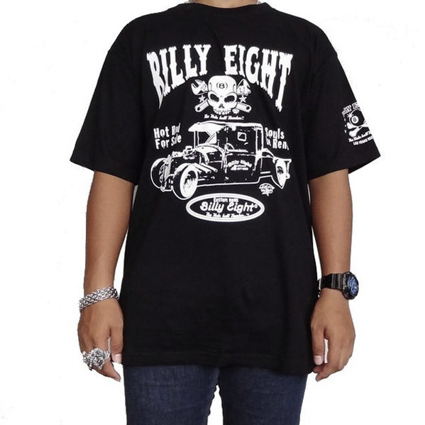 X-Large Black Billy Eight Garage Rat Rod Rockabilly T Shirt - Sinister Silver Co.