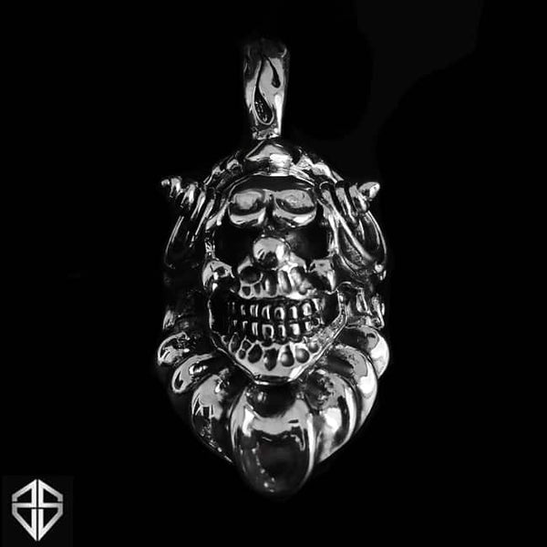 Mens Biker Skull Pendant Sterling Silver Clown Jester Jewelry - Sinister Silver Co.